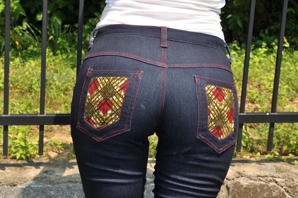 Folake-Flared-jeans-ankara-print-pocket-detail-